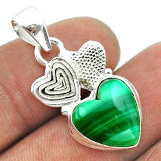 925 silver 6.57cts natural green malachite heart couple hearts pendant t55458