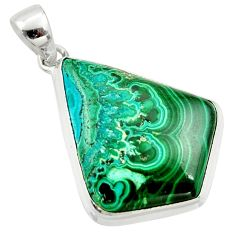 925 silver 26.00cts natural green malachite in chrysocolla fancy pendant r39910
