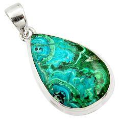 925 silver 17.22cts natural green malachite in chrysocolla pear pendant r39923