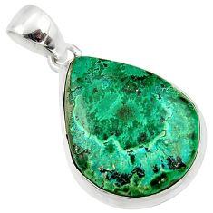 925 silver 16.18cts natural green malachite in chrysocolla pendant r39926