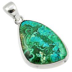 925 silver 18.70cts natural green malachite in chrysocolla pendant r39935