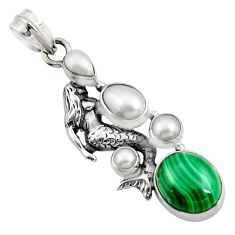 Clearance Sale- 925 silver 10.89cts natural green malachite pearl fairy mermaid pendant d42723