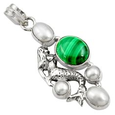 Clearance Sale- 925 silver 11.48cts natural green malachite pearl fairy mermaid pendant d42740