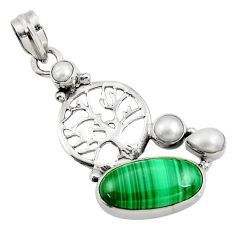 Clearance Sale- 925 silver 12.04cts natural green malachite pearl tree of life pendant d42726