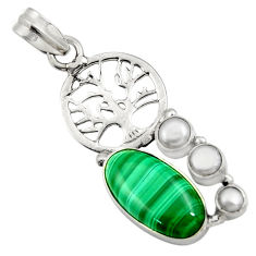 Clearance Sale- 925 silver 12.64cts natural green malachite pearl tree of life pendant d42728
