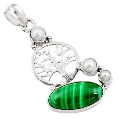 Clearance Sale- 925 silver 11.27cts natural green malachite pearl tree of life pendant d42733