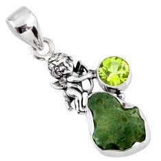 925 silver 6.22cts natural green moldavite (genuine czech) angel pendant r57164