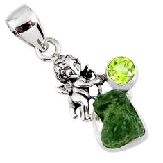 925 silver 5.43cts natural green moldavite (genuine czech) angel pendant r57188