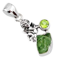 925 silver 4.89cts natural green moldavite (genuine czech) angel pendant r57189