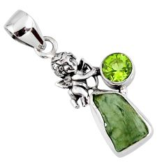 925 silver 5.84cts natural green moldavite (genuine czech) angel pendant r57198