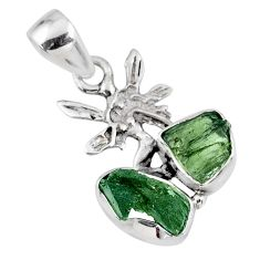 925 silver 7.50cts natural green moldavite (genuine czech) angel pendant r57350
