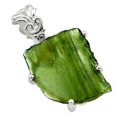 925 silver 9.72cts natural green moldavite (genuine czech) fancy pendant r29543