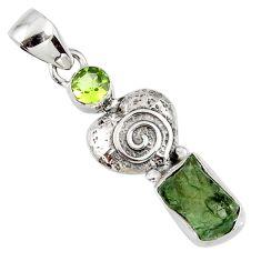 925 silver 5.80cts natural green moldavite (genuine czech) fancy pendant r57191