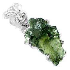 925 silver 8.15cts natural green moldavite (genuine czech) fancy pendant r71784