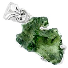 925 silver 10.11cts natural green moldavite (genuine czech) fancy pendant r71787