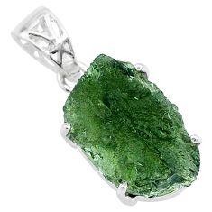 925 silver 11.65cts natural green moldavite (genuine czech) fancy pendant r71790