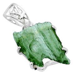 925 silver 7.51cts natural green moldavite (genuine czech) fancy pendant r71843