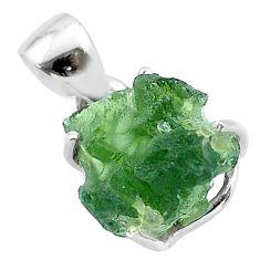 925 silver 7.23cts natural green moldavite (genuine czech) fancy pendant t49984