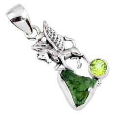 925 silver 5.43cts natural green moldavite (genuine czech) horse pendant r57187