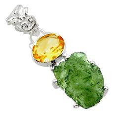 925 silver 9.83cts natural green moldavite (genuine czech) pendant r29414