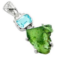 925 silver 9.16cts natural green moldavite (genuine czech) topaz pendant r29407
