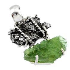 925 silver 16.85cts natural green moldavite campo del cielo fancy pendant r72956