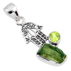 925 silver 5.13cts natural green moldavite hand of god hamsa pendant r57202