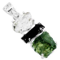 925 silver 13.05cts natural green moldavite tourmaline rough pendant r71850