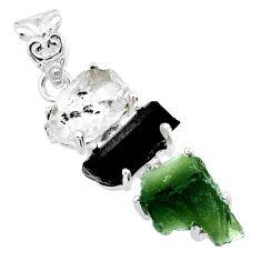 925 silver 14.25cts natural green moldavite tourmaline rough pendant r71855