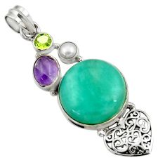 925 silver 20.45cts natural green peruvian amazonite amethyst pendant d43273