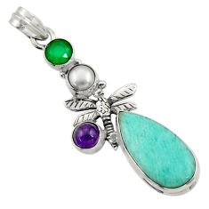 Clearance Sale- 925 silver 16.92cts natural green peruvian amazonite dragonfly pendant d43278