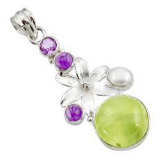 Clearance Sale- 925 silver 22.75cts natural green prehnite amethyst flower pendant d44792