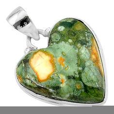 925 silver 16.23cts natural green rainforest rhyolite jasper pendant t13480