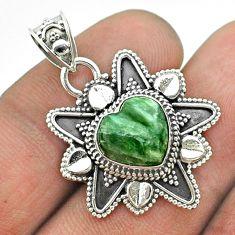 925 silver 5.11cts natural green seraphinite (russian) heart pendant t56064