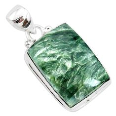 925 silver 17.22cts natural green seraphinite (russian) octagan pendant r94844