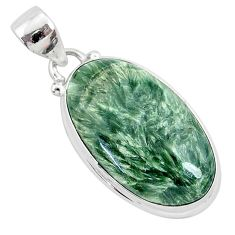 925 silver 15.08cts natural green seraphinite (russian) oval pendant r94848