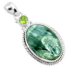 925 silver 15.65cts natural green seraphinite (russian) peridot pendant r94571