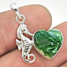 925 silver 6.19cts natural green seraphinite (russian) seahorse pendant t55248