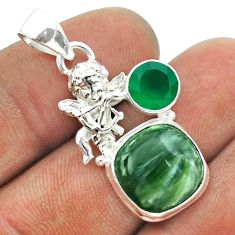 925 silver 9.09cts natural green seraphinite chalcedony angel pendant t55460