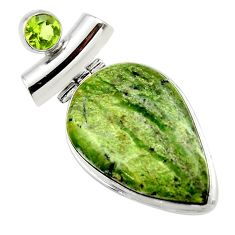 925 silver 22.44cts natural green swiss imperial opal peridot pendant r32176