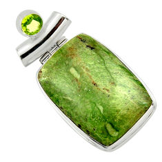 925 silver 26.16cts natural green swiss imperial opal peridot pendant r32180