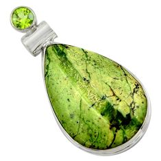 925 silver 19.23cts natural green swiss imperial opal peridot pendant r41716