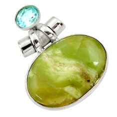 925 silver 28.08cts natural green swiss imperial opal topaz pendant r30516