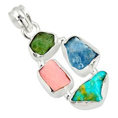 925 silver 13.66cts natural green tourmaline campitos turquoise pendant r26883
