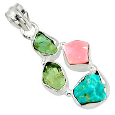 925 silver 13.15cts natural green tourmaline campitos turquoise pendant r26887