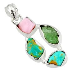 925 silver 13.15cts natural green tourmaline campitos turquoise pendant r26895