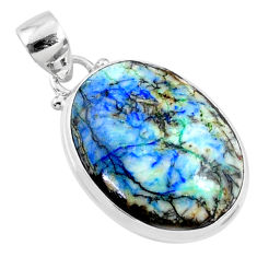 925 silver 19.12cts natural green turquoise azurite oval pendant r69808