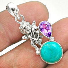925 silver 5.82cts natural green turquoise tibetan amethyst angel pendant t51271