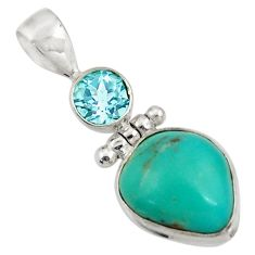 Clearance Sale- 925 silver 12.36cts natural green turquoise tibetan fancy topaz pendant d43564