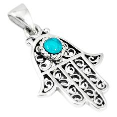 925 silver natural green turquoise tibetan hand of god hamsa pendant c10988
